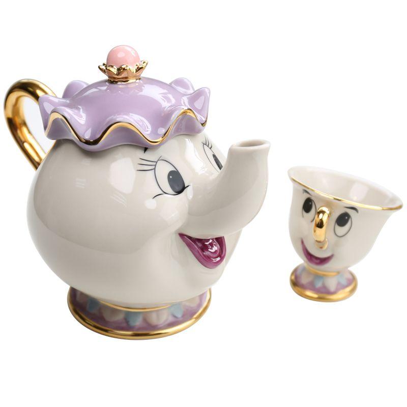 Véritable dessin animé beauté et la bête tasse thé ensemble Mrs Potts théière puce tasse Pot ensemble café bouilloire anniversaire cadeau de noël