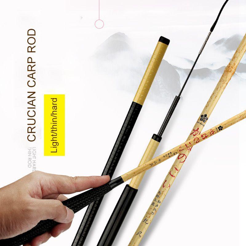 2018 Anzhenji Neue ultraleichte Carbon Mist Angelrute 37 Tune bambus Farbe Hand Stange 2,7 mt 4,5 mt 5,4 mt 6,3 mt Stream Angeln getriebe