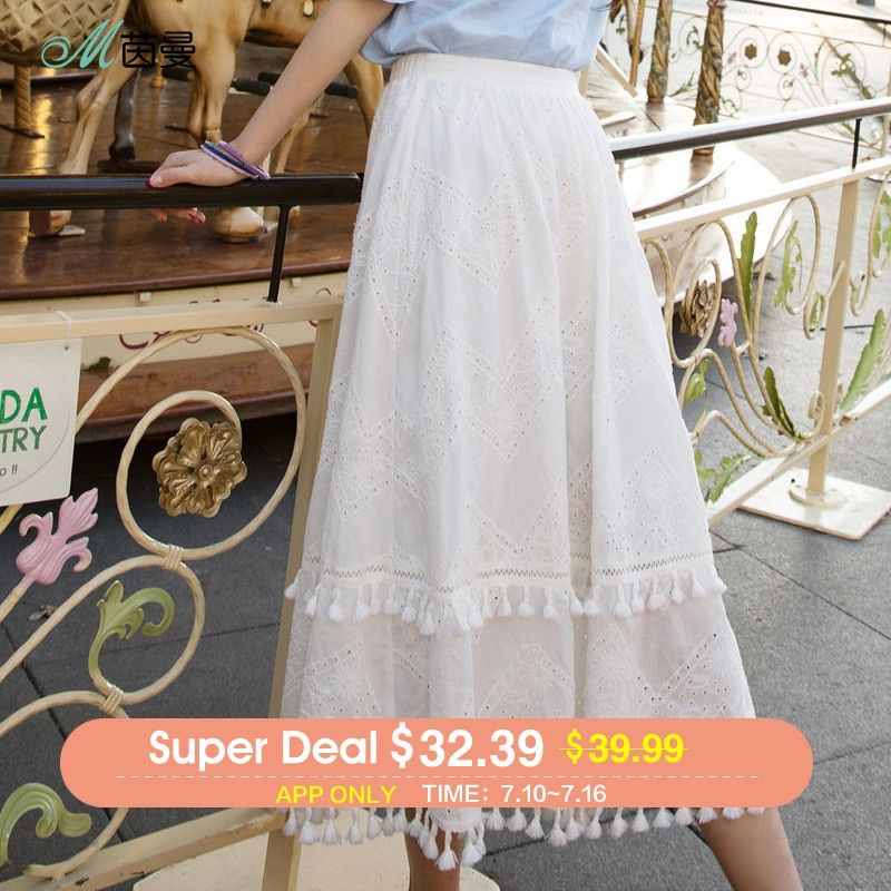 Inman Woman A Line Long Skirt 2018 Summer Hollow Embroidery White Fresh Skirt Solid Color Mid Calf Skirt