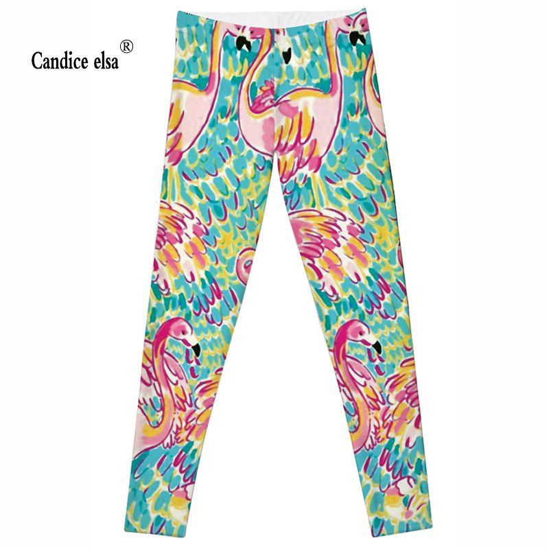 CANDICE ELSA soft women Leggings lovely <font><b>colorful</b></font> flamingo printed leggins fashion calzas deportivas mujer fitness female pants