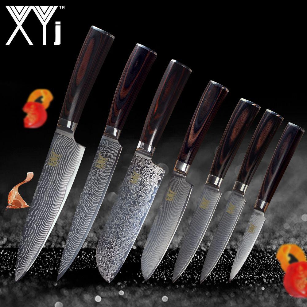 XYj Küche Messer Damaskus Messer VG10 Core 7 stücke Sets Hohe Grade Japanischen Damaskus Stahl Schönheit Muster Küche Kochen Werkzeuge