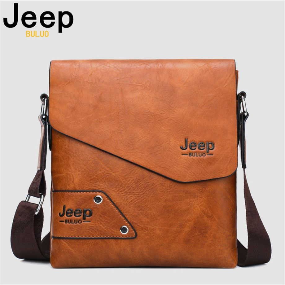 JEEP BULUO Man's Messenger Bag 2PCS Sst Hot Sale New Crossbody Shoulder Bags For Men Business Casual High Quality Leather Tote