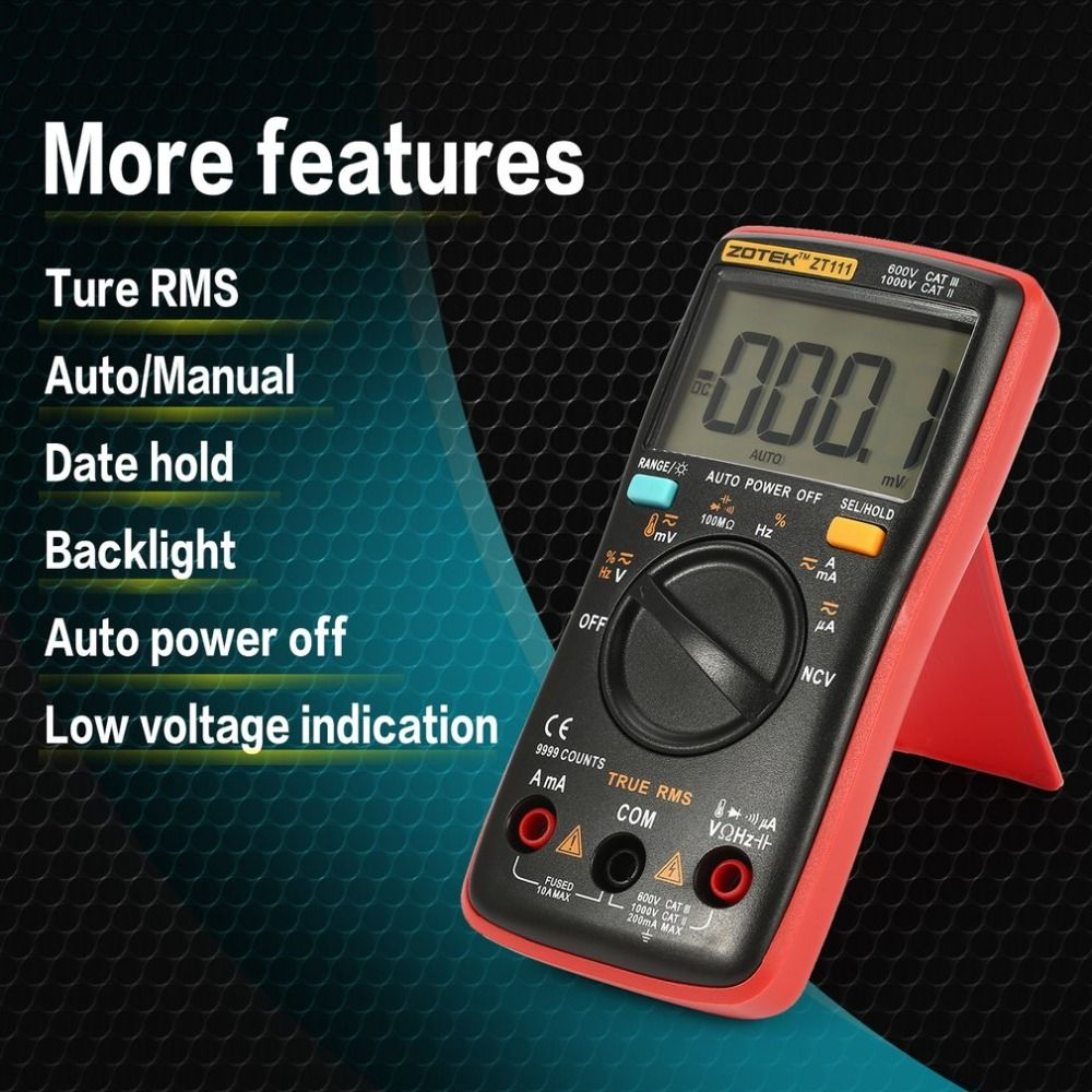 ZOTEK ZT111 Mini 9999 Counts Range Digital Multimeter AC/DC Voltage Current Tester with Temperature and NCV Measurement