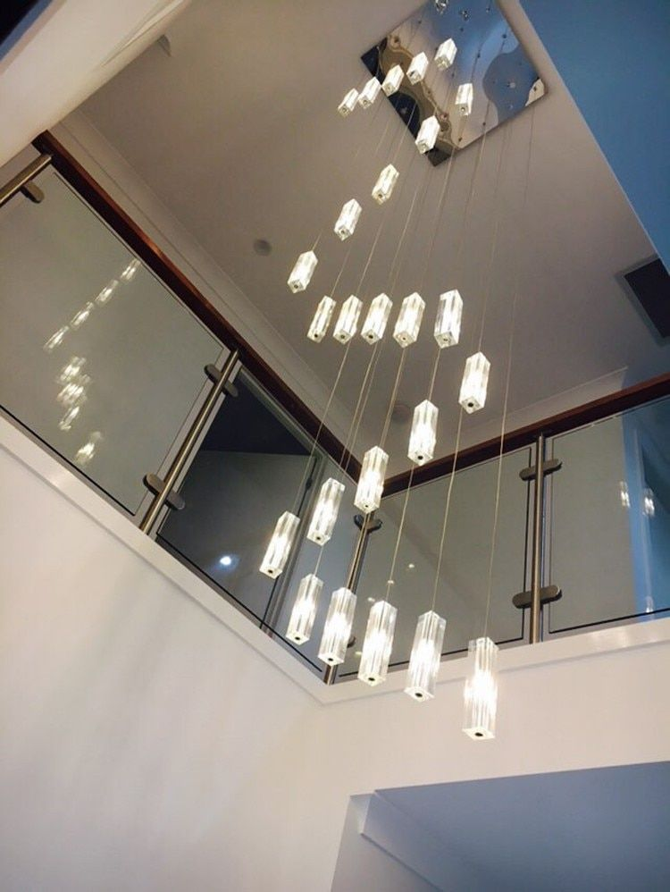 stairwell 20-25 pcs G4 led lustre lighting Modern Led long staircase pendant lights spiral stair hanging lamps big crystal lampa