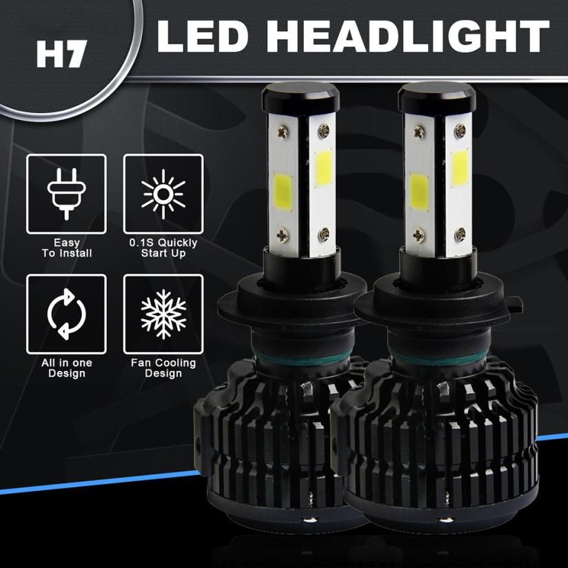 kongyide h7 led canbus 120W 12800lm 4 Sides LED Headlight Kit H7 HB2 Hi/low beams HID 6000K Bulbs Jan16
