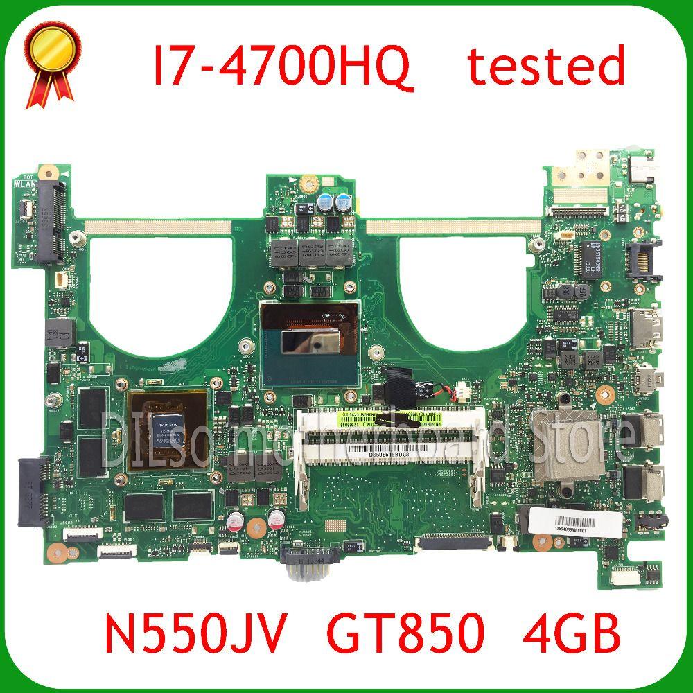 KEFU N550JV For ASUS N550jv n550jk Laptop Motherboard i7-4700HQ CPU PM GT850 4GB Video memory Mainboard 100% tested