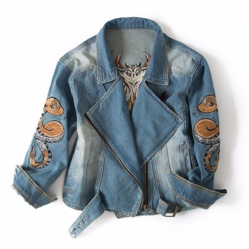 Try Everything Jeans Jacket Women Embroidery With Owl Snake Embroidered Zipper Motorcycle Denim Jacket Women Spring 2018 Coat