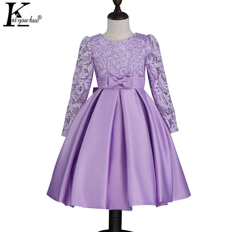 Niñas Vestido de Novia Vestidos de Encaje Princesa de Los Niños Vestidos Para Niñas Ropa de Niño de Manga Larga Vestido de Navidad Niños Disfraces