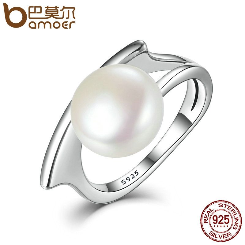 BAMOER New Collection Authentic 100% 925 Sterling Silver Fresh Water Cultured Pearl Rings for Women Wedding Jewelry SCR034