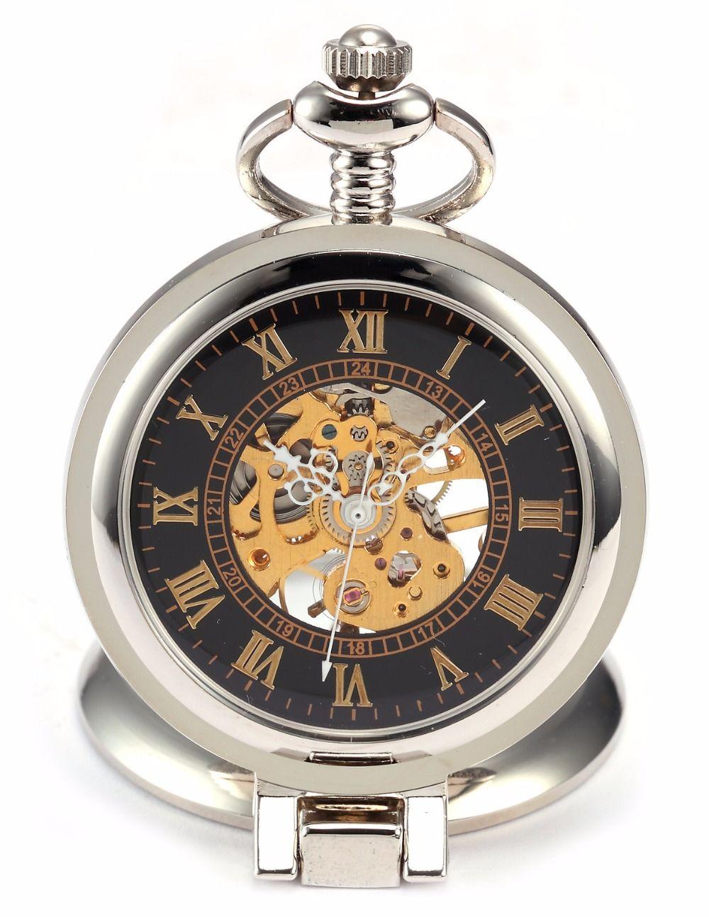 Retro moda plata negro lupa caja mecánica mano Winding hombres romana analógica cadena regalo reloj colgante reloj de bolsillo/WPK023