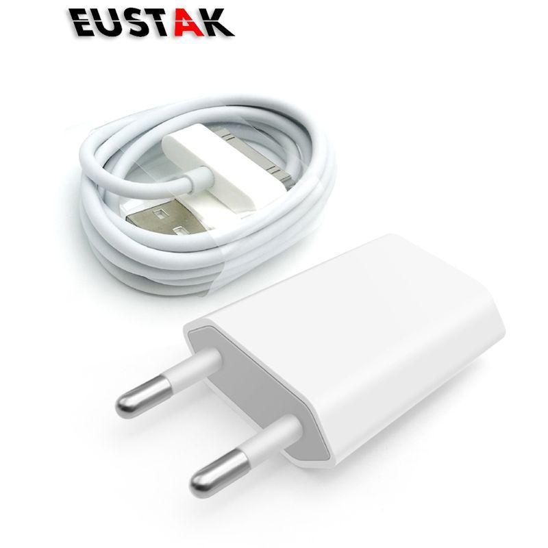 Eustak für iphone 4 usb-ladegerät eu stecker 30 pin ac travel wand lade schnell ladegerät für iphone 4 s 4 3gs ipod nano/touch 5 v 1A