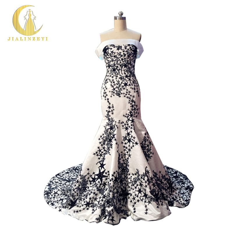JIALINZEYI New Sexy Boat Neck Satin With Navy Blue Stars Lace Beads Mermaid Formal Dresses Evening Dresses 2017