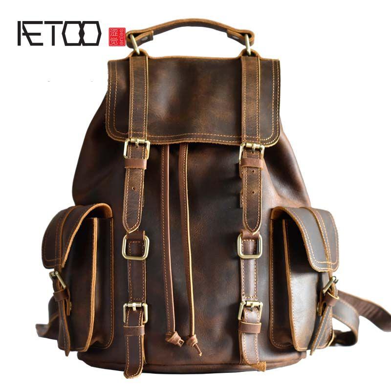 AETOO Original design leder handtasche Europa und die Vereinigten Staaten trend retro männlichen Baotou crazy horse leder freizeit rucksack