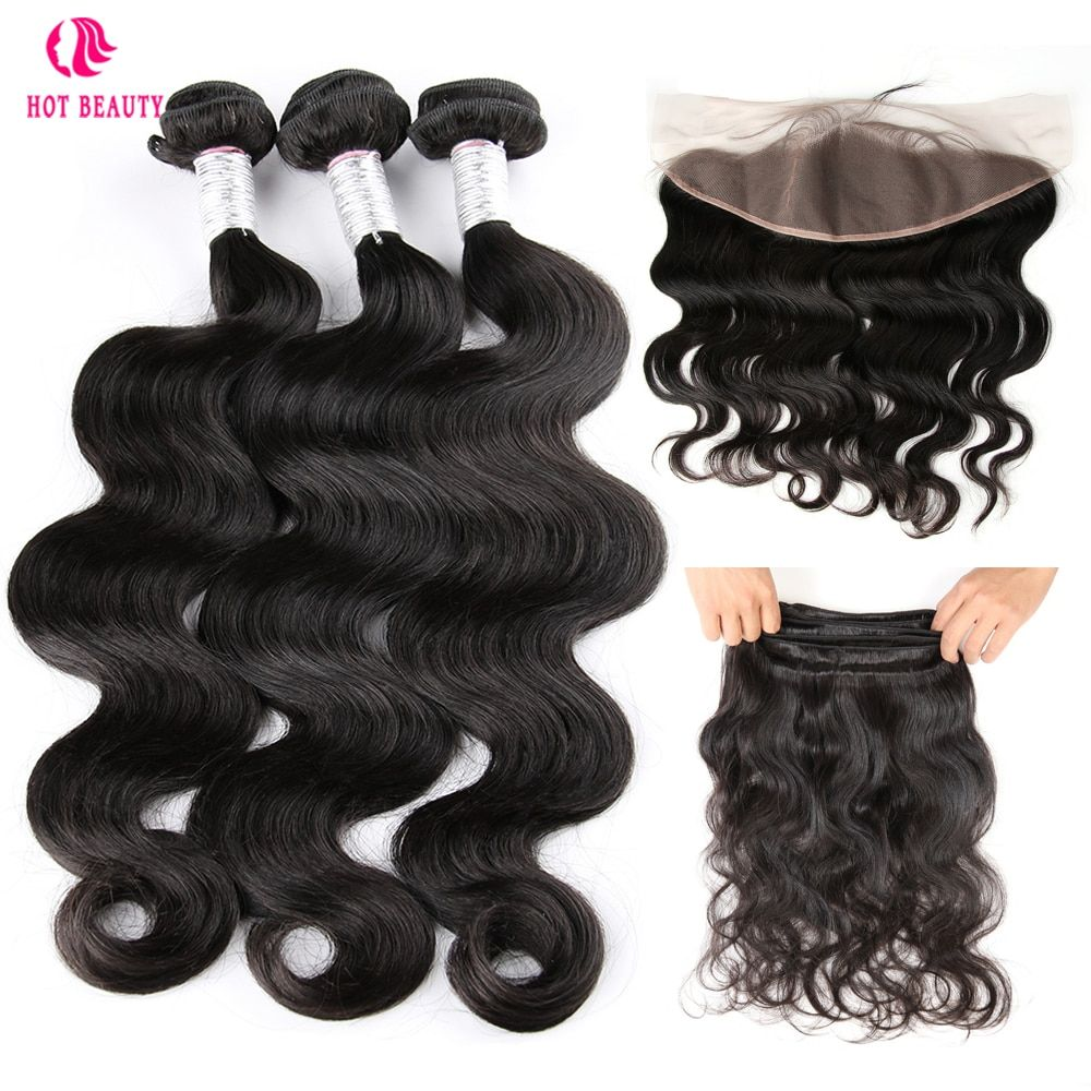 Hot Beauty Hair Human Hair 3 Bundles Brazilian Body Wave Pre Plucked Free Part Ear To Ear Lace Frontal Closure With Bundles