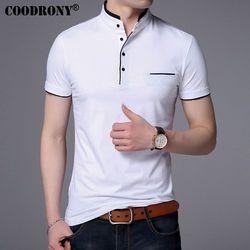 COODRONY Mandarin Col À Manches Courtes T-shirt Hommes 2017 Printemps été nouveau top hommes marque clothing slim fit coton t-shirts S7645