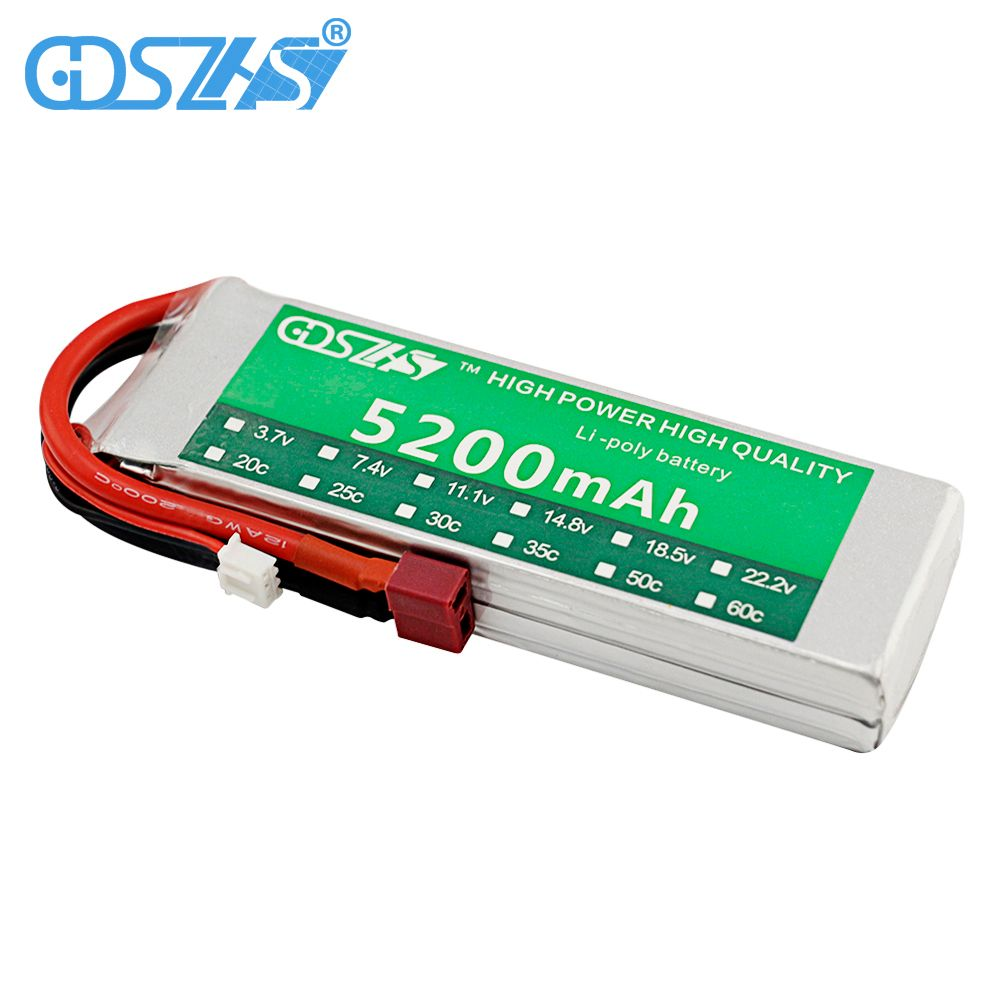 GDSZHS 7.4V 5200mAh 30C 2S RC Lipo Battery Lithium-Polymer Battery for FPV UAV RC Drone Car Helicopter Truck Boat Accessories