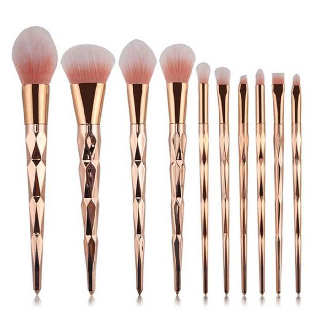 Ensemble de pinceaux de maquillage ovales Coshine 10 pièces/ensemble or licorne arc-en-ciel