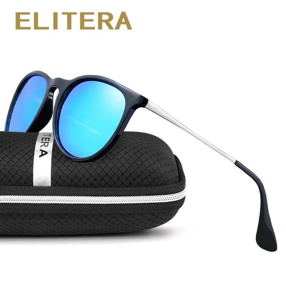 ELITERA Rétro Ronde lunettes de Soleil Polarisées Femmes Marque Designer De Luxe Lunettes de Soleil Pour Hommes Métal Cadre Femelle oculos Homme UV400