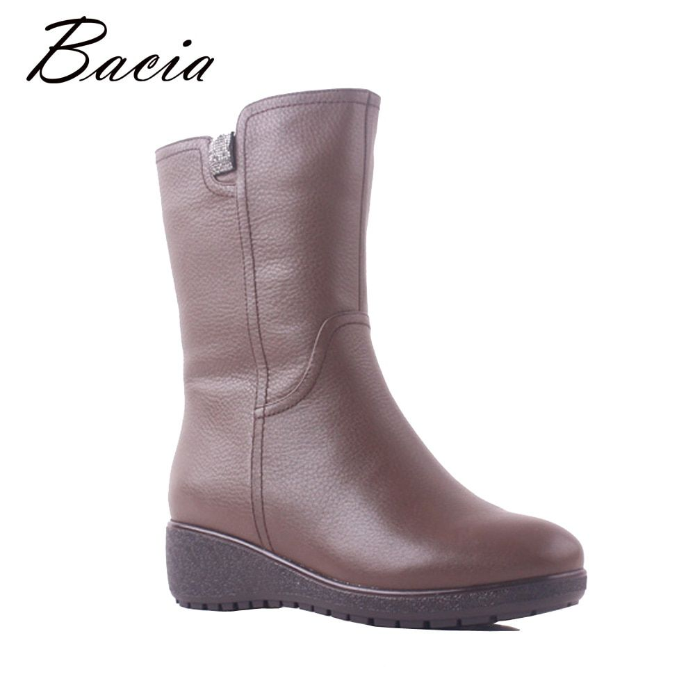 Bacia Winter Boots Women Genuine Leather 100% Real Wool Fur Fashion Mujer Botas Snow Boots Low Heels Wedges Gray Shoes SB115