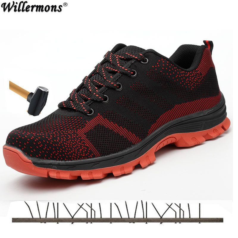 2018 Plus Size Men's Outdoor Breathable Mesh Steel Toe Cap Work Safety Shoes Boots Men Anti-slip Puncture Proof Protetive Shoes