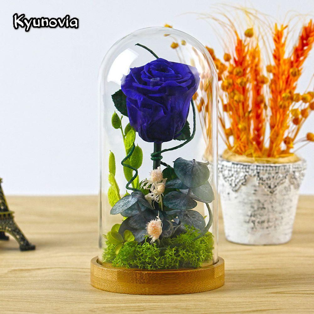 Kyunovia Couvercle En Verre Frais Conservés Rose Fleur Rouge Bleu Mère d'anniversaire cadeau du Jour de Valentine De Mariage Décoration de La Maison KY78