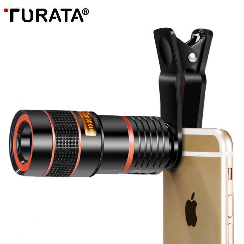 TURATA Universel Clip 8X 12X Zoom Téléphone portable Objectif de Télescope Téléobjectif Externe Smartphone Camera Lens Pour iPhone Samsung Huawei