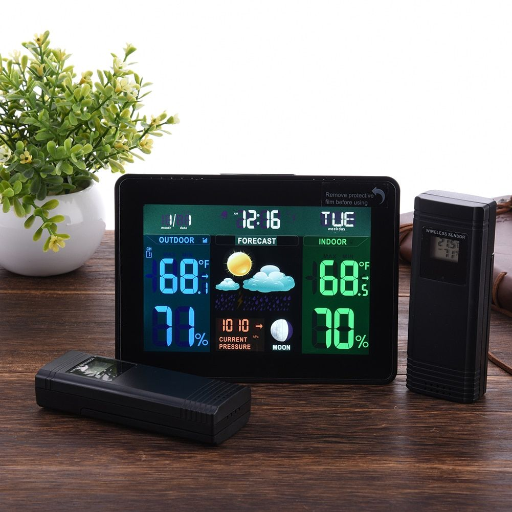 Indoor Outdoor Temperature Monitor Digital Weather Station DCF77 RCC Thermometer RH% Barometric Pressure 2 Wireless Sensor