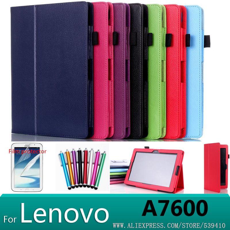 Pour Lenovo A10-70 A7600 case Stand Litchi en cuir case couverture Pour Lenovo A7600 A10-70 tablet pc case + protections d'écran + stylus