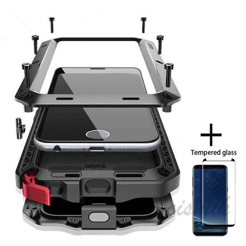 Verre Film + Plein De Protection de luxe doom armure Cas Métal Cas Antichoc Couverture Pour Samsung S8 S8Plus S9 S9Plus Note8 note9 cas