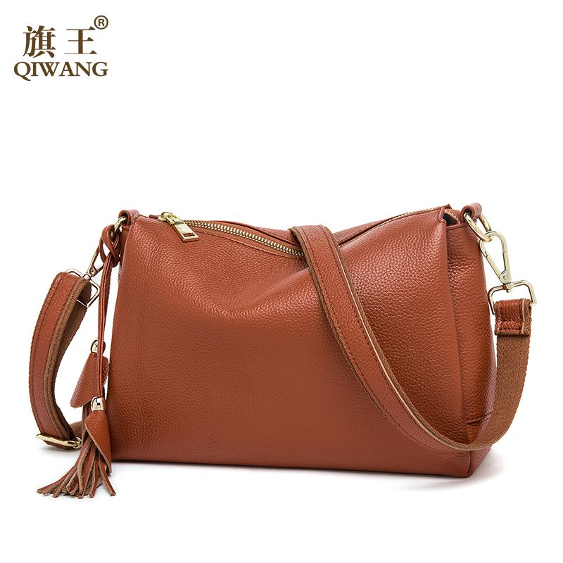 Qiwang Soft Cow Leather Bag Luxury Women Shoulder Handbag 3 layers Genuine Leather Shoulder Bag Lady Clutch Purse Made in China