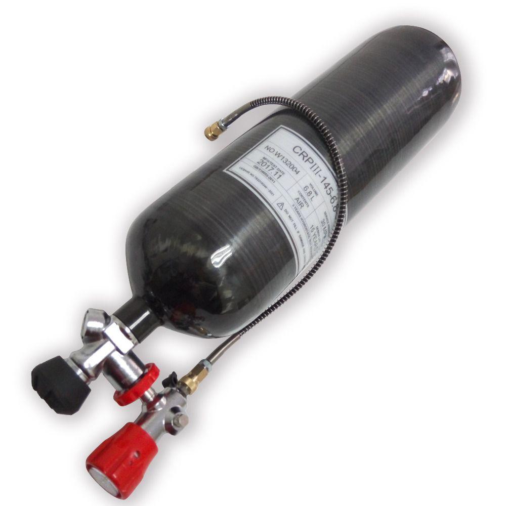 Innovation 2018 Neue Aktualisiert Schwarz 6.8L 60 minuten luft flasche & ventil & füllen station PCP airsoft tank carbon faser zylinder