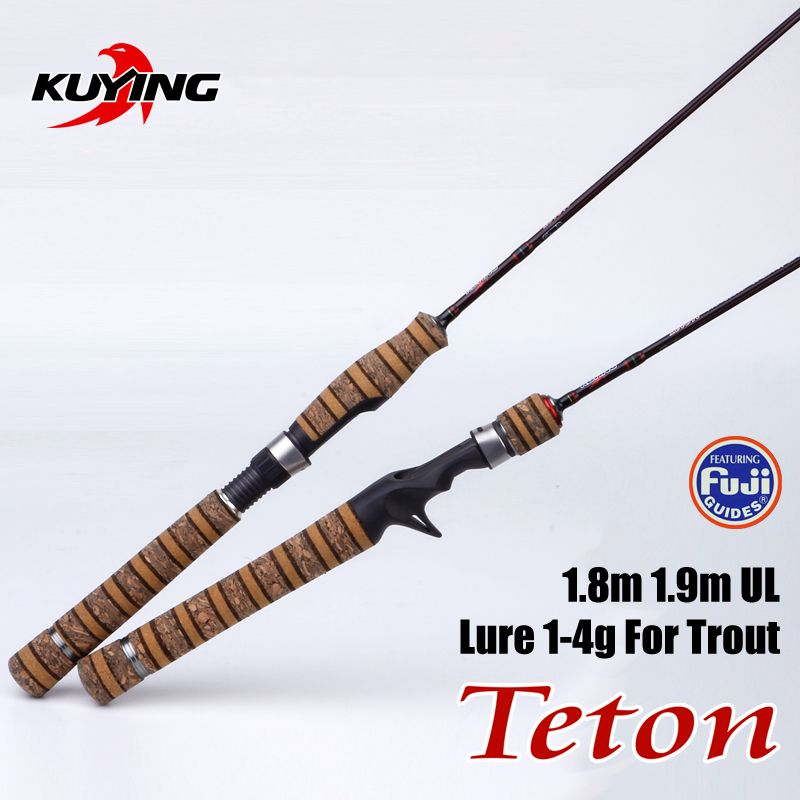 KUYING Teton UL Ultra-light Soft Fishing Rod 1.8m 1.9m Lure Carbon Casting Spinning Cane Pole FUJI Parts Medium Action For Trout