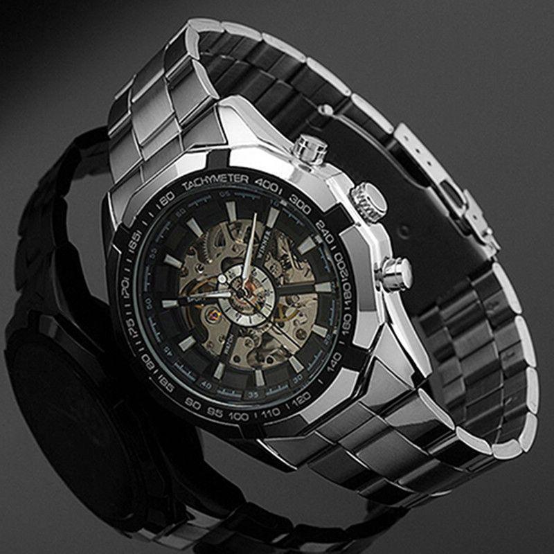 2018 montre-bracelet mécanique de Sport automatique creux à remontage manuel en acier inoxydable hommes