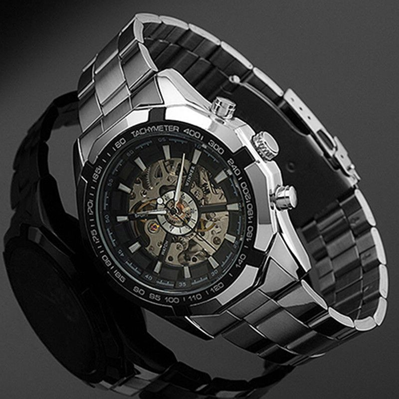 2018 Stainless Steel Hand-Winding <font><b>hollow</b></font> Automatic Sport Mechanical Wrist Watch Men