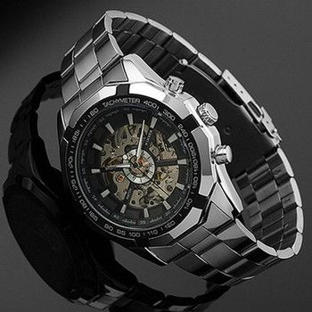 Stainless Steel Hand-Winding hollow Automatic Sport Mechanical Wrist Watch Men