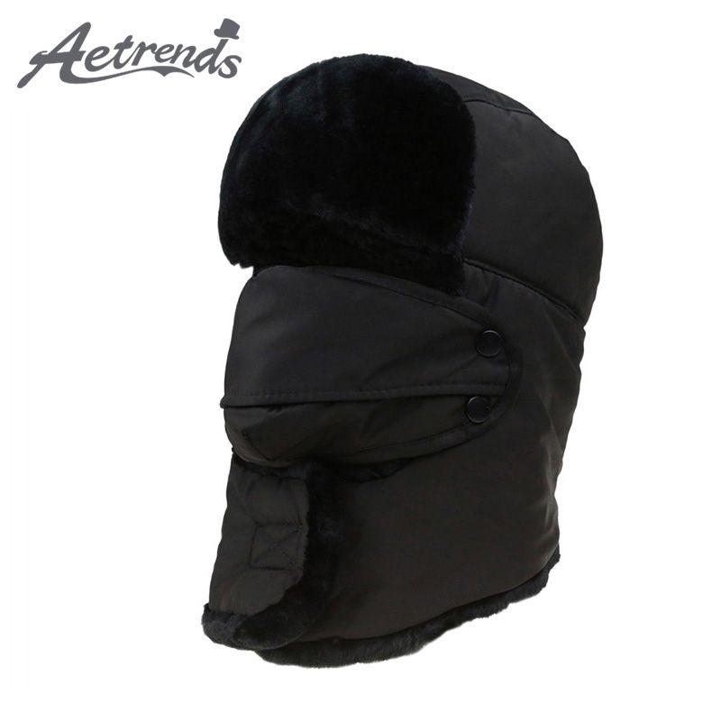 [AETRENDS] chapeaux de bombardier de fourrure pour hommes ou femmes hiver chapeau russe en plein air chaud plus épais casquettes avec rabat d'oreille et masque Z-3877
