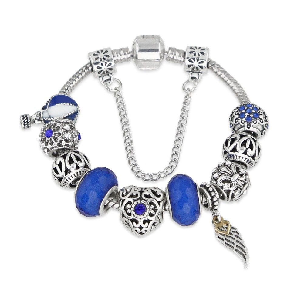 Hot Sale Fashion Christmas Silver Crystal Charm Bracelets & Bangles for Women DIY Jewelry