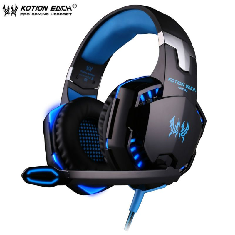 KOTION EACH G2000 Wired Gaming Headphone Earphone Gamer Headset Stereo Sound with Microphone LED Audio Cable for Desktop/PC Game