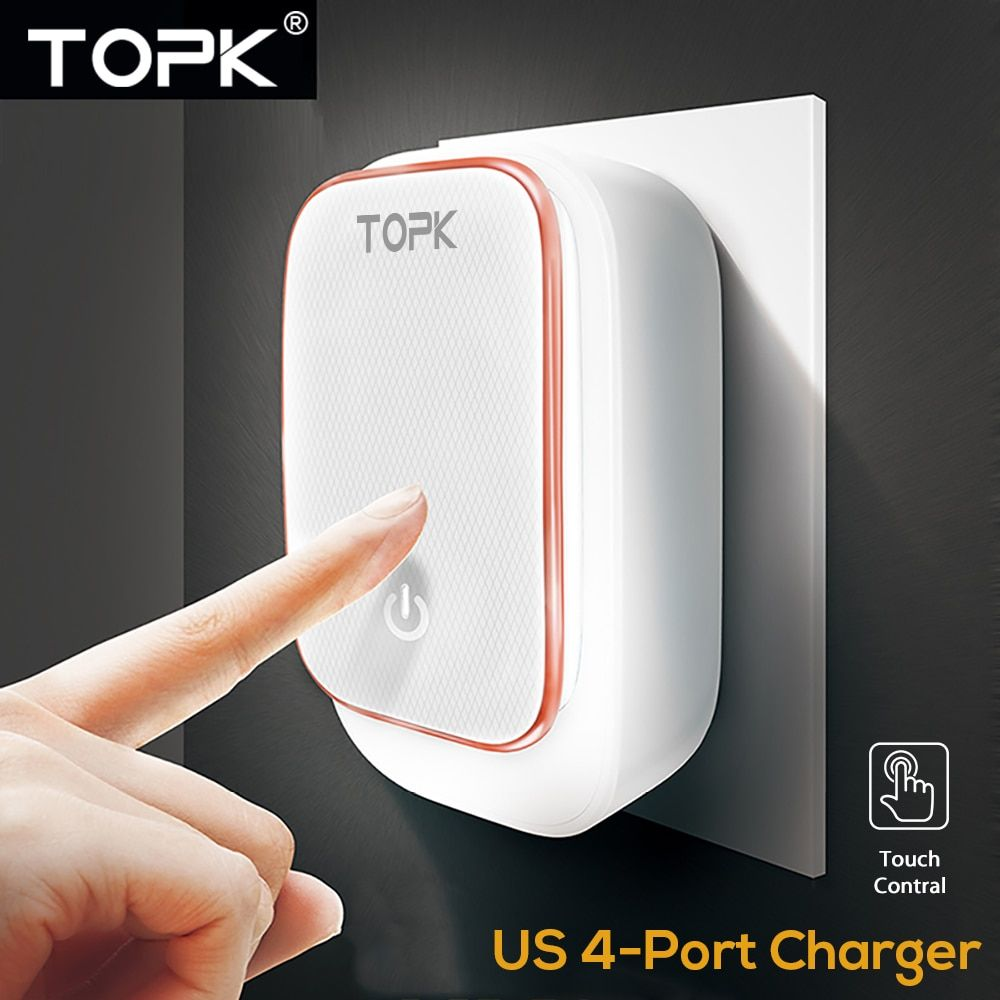 TOPK 4-Port 5V 4.4A(Max) 22W Phone Charger LED Lamp Auto-ID USB Charger Portable Travel US Plug Wall Charger Adapter (White)