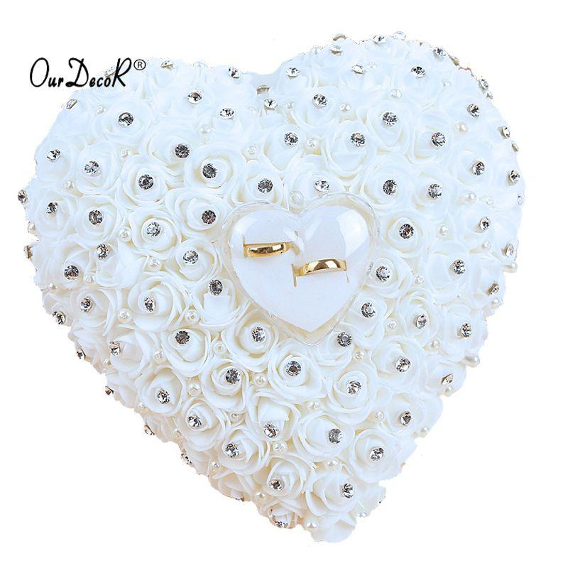 Faveurs de mariage Accrocher Anneau Oreiller Avec Transprent Boîte Coeur Conception avec Strass Et Perle décor De Mariage Anneau Coussin Décoration