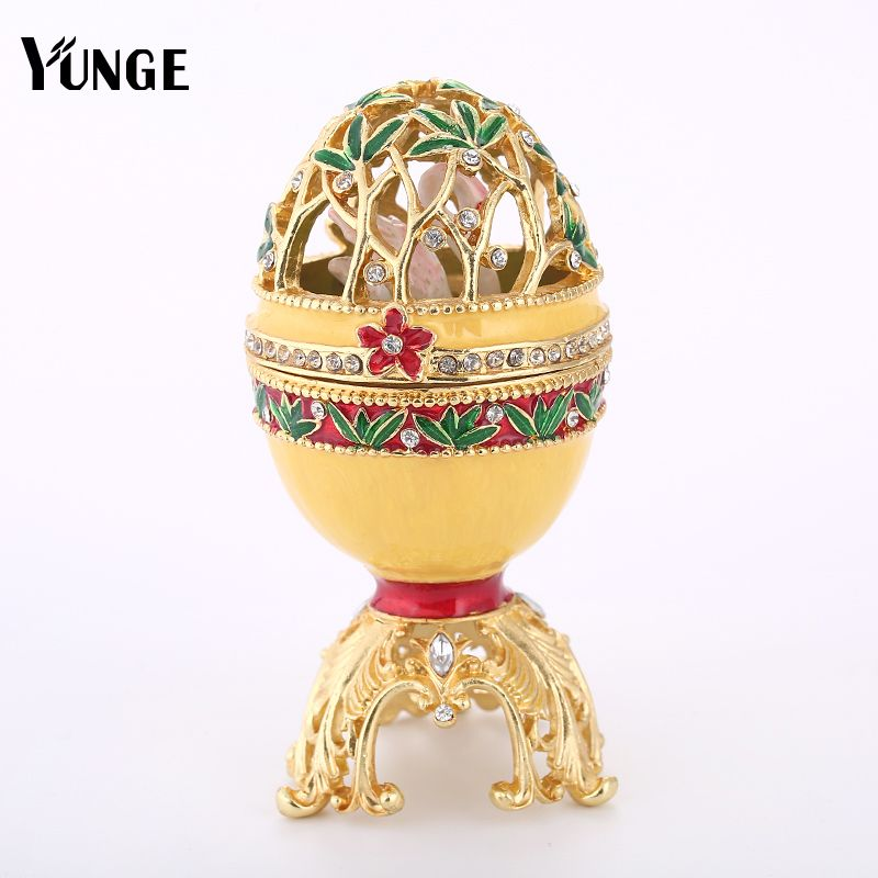 Free Shipping Swan Decor Hollow Russia Eggs Trinket Box Vintage Home Display Golden Faberge Easter Egg Crystal Metal Craft