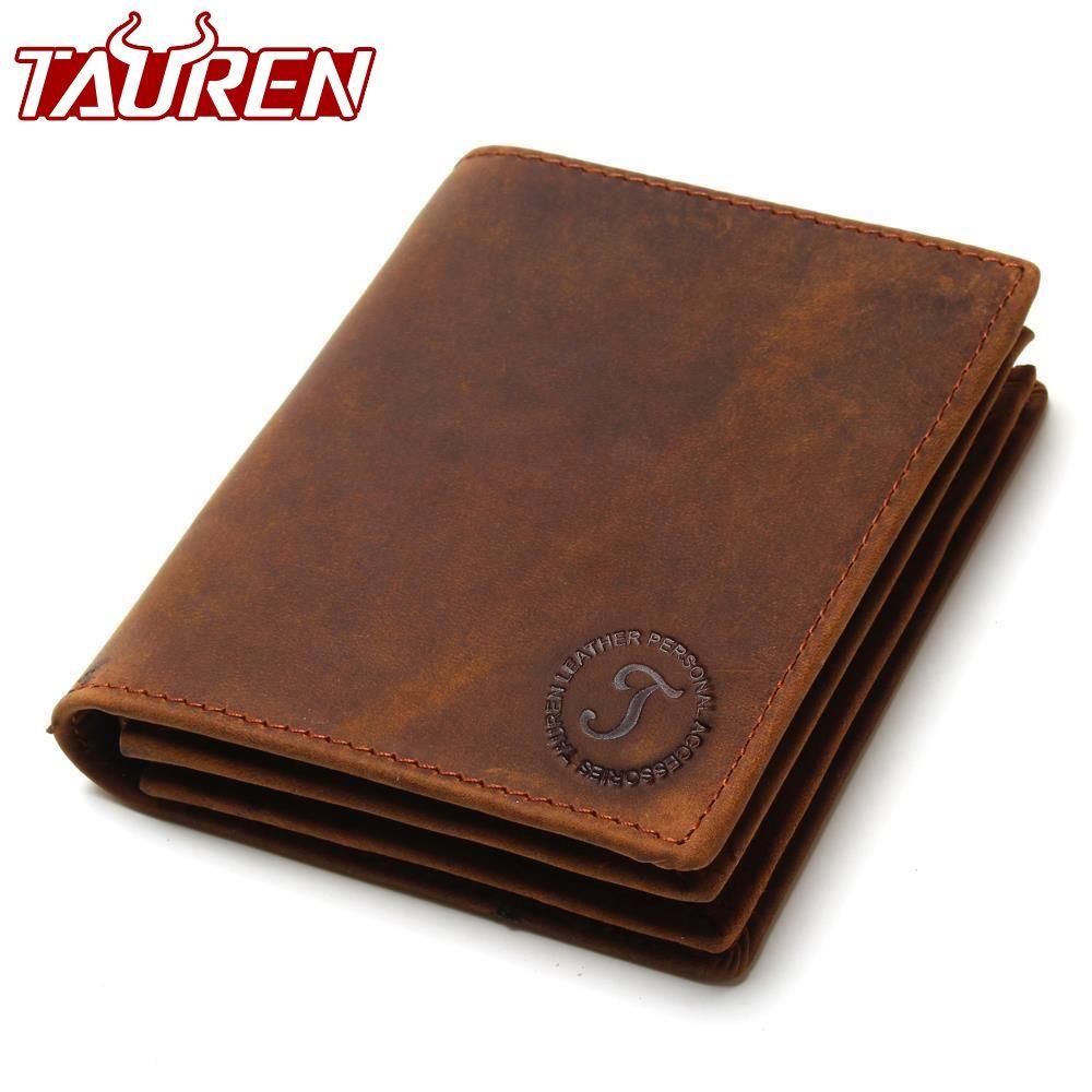 2018 <font><b>Vintage</b></font> Crazy Horse Handmade Leather Men Wallets Multi-Functional Cowhide Coin Purse Genuine Leather Wallet For Men