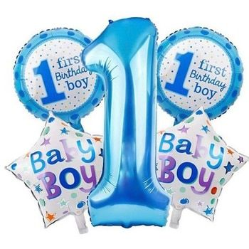 5 Pcs Baby 1st Balloons Toys Set Pink Blue Number Foil Air Balls Boy Girl Toy Decorations For Kids Supplies
