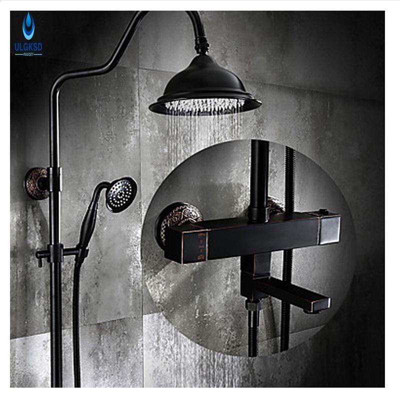 ULGKSD Thermostatic Valve Shower Faucet 8'' Rainfall Head Hand shower Two Handles Mixer Taps Black Brass