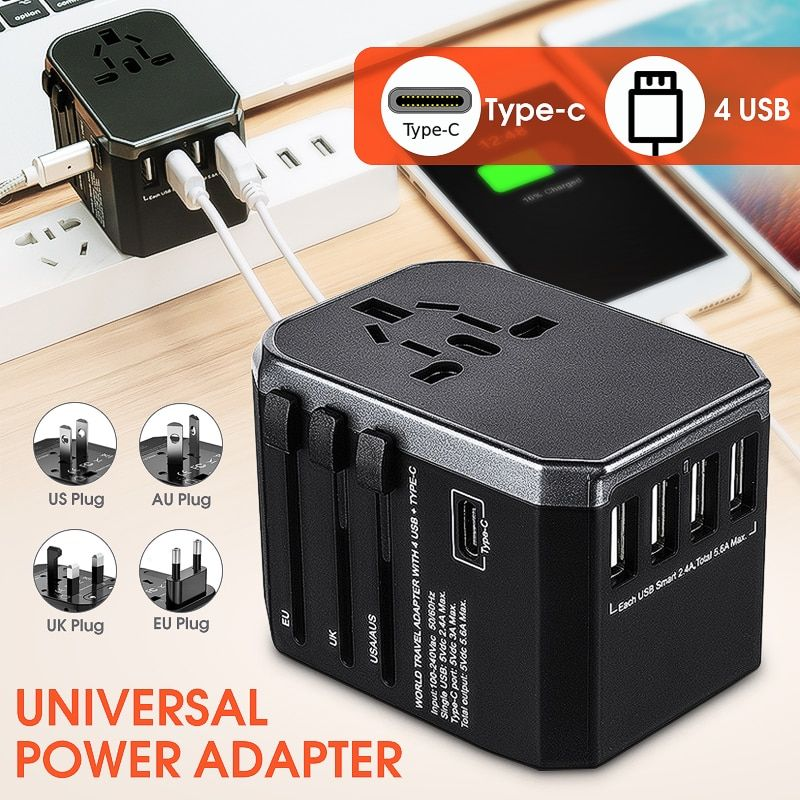 Worldwide Travel Adapter Electric Plugs Sockets 4 USB 2.4A Port + Type-C Power Adapter Universal AC Wall Charger For EU/UK/US/AU