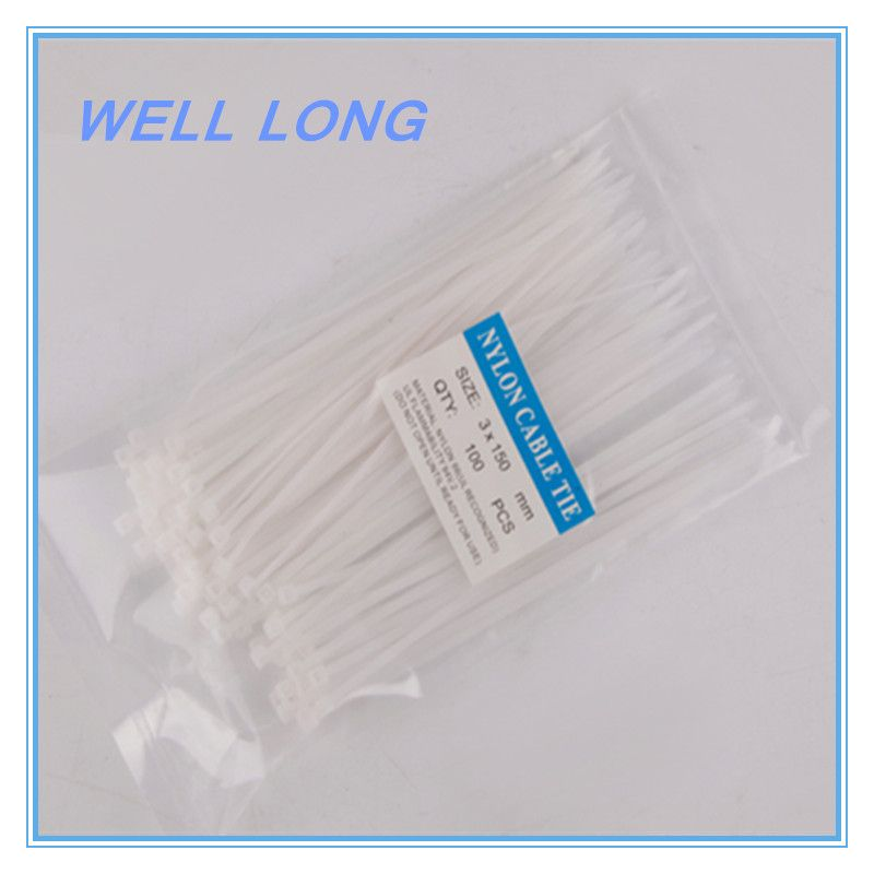 200pcs/lot 3*150mm White Self-Locking Nylon Wire Cable Zip Ties, Cable Ties.