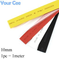 1pc 1meter 10mm 2:1 Heat Shrink Tube Shrinkable Sleeve Heatshrink Insulation Wire Cable 600V Black White Yellow Clear Red