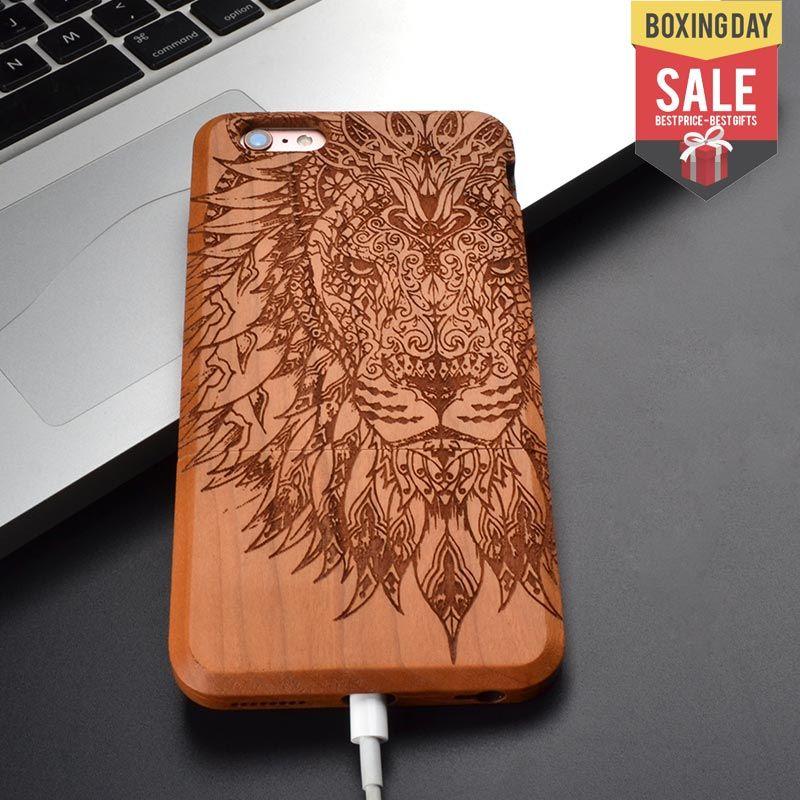 Lion et éléphant animal rétro nouveau naturel 100% solide bois peau téléphone étui pour iphone 8X7 6 6 S plus