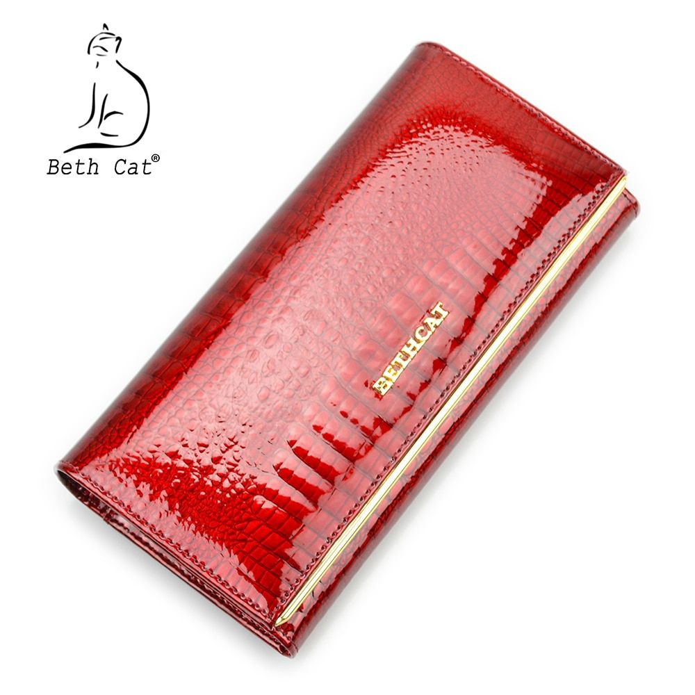 Beth Cat Women Genuine Leather Wallet Female Hasp Alligator Cowhide Long Wallet Cards Holder Clutch Bag Fashion <font><b>Ladies</b></font> Purses