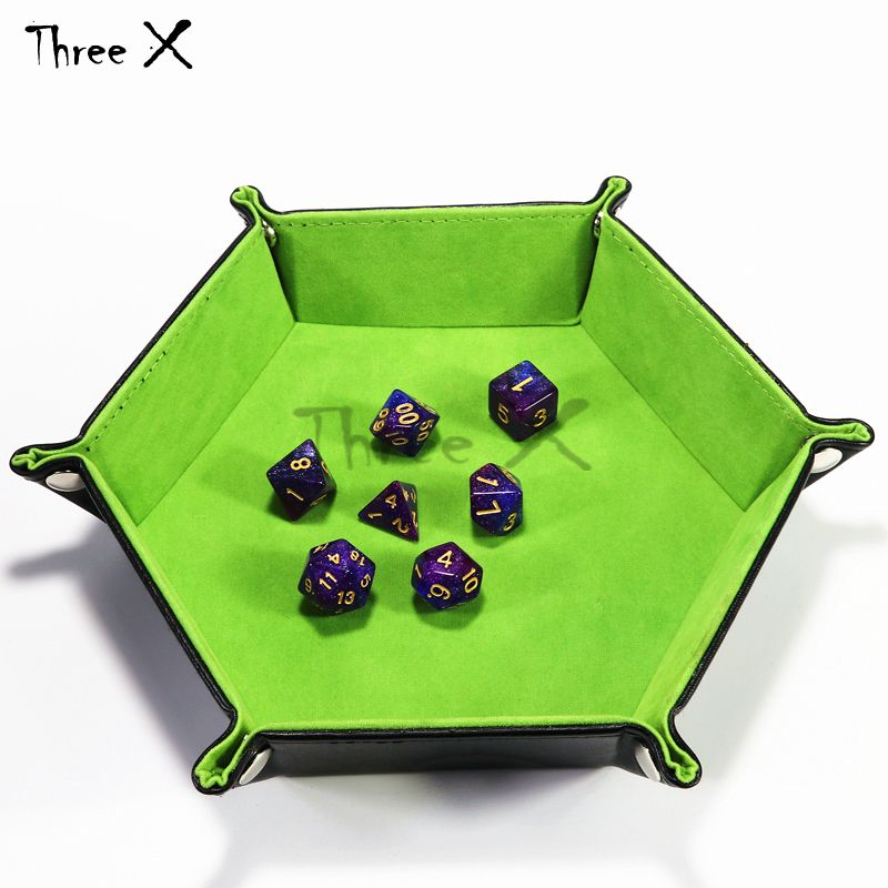 Delicate PU Leather Tray Both Side Available Soft Velvet Folding Favorites Storage Dice Keys Coins Box Board game